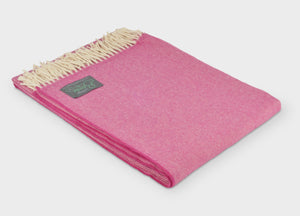 Raspberry Pink Supersoft Merino Herringbone Throw - The British Blanket Company