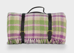 Plum and Green Check Waterproof Picnic Blanket with Straps - buy at The British Blanket Company