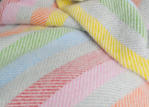 Rainbow Stripe Herringbone Throw - The British Blanket Company