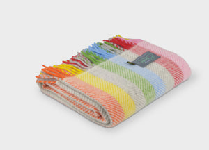 Rainbow Stripe Herringbone Armchair Throw - buy at The British Blanket Company