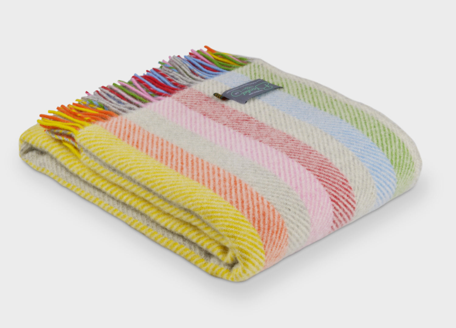 df7a881b1e Rainbow Stripe Herringbone Throw - buy at The British Blanket Company