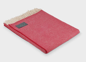 Red Supersoft Merino Herringbone Throw - The British Blanket Company