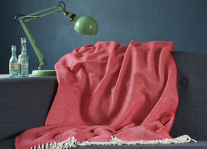 Red Supersoft Merino Herringbone Throw - buy at The British Blanket Company