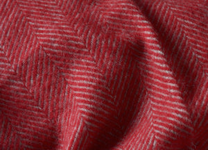 Rich Red and Grey Herringbone Throw - buy at The British Blanket Company