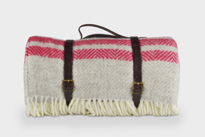 Silver Grey and Red Waterproof Picnic Blanket with Straps - buy at The British Blanket Company