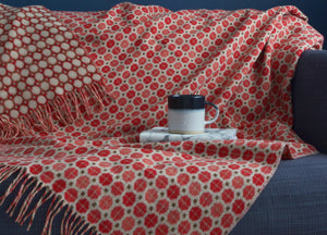 Terracotta Geo Merino Lambswool Throw - buy at The British Blanket Company