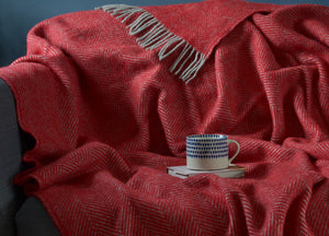 Rich Red and Grey Herringbone Throw