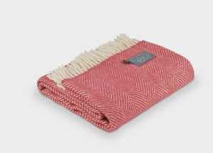 Lingonberry Herringbone Armchair Throw - The British Blanket Company