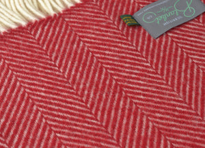 Rich Red Herringbone Throw - buy at The British Blanket Company