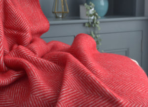 Rich Red Herringbone Armchair Throw - buy at The British Blanket Company