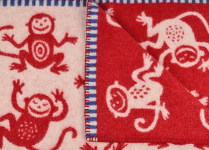 Red Cheeky Monkey Lambswool Baby Blanket - buy at The British Blanket Company