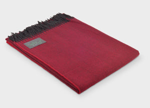 Rosehip Red Herringbone Supersoft Merino Herringbone Throw - The British Blanket Company