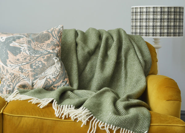 Olive Green Herringbone Throw The British Blanket Company