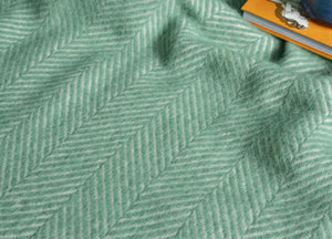 Sea Green Herringbone Throw - buy at The British Blanket Company