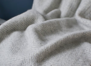 Silver Grey Herringbone Armchair Throw - buy at The British Blanket Company