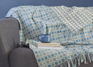 Sky Blue Geo Merino Lambswool Throw - The British Blanket Company
