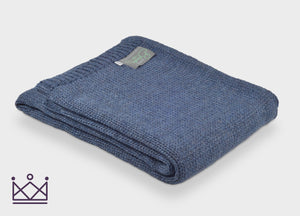 Slate Blue Knitted Alpaca Throw - buy at The British Blanket Company
