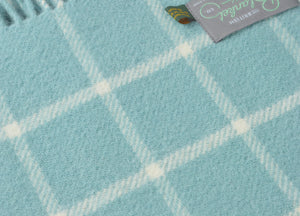 Spearmint Blue Grid Check Throw - buy at The British Blanket Company