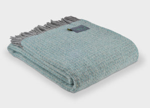 Spearmint and Grey Windmill throw - The British Blanket Company