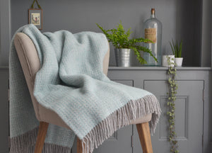 Spearmint and Grey Windmill throw - buy at The British Blanket Company