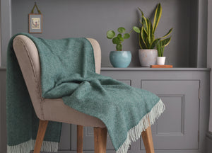 Spruce Green Heritage Herringbone Throw - buy at The British Blanket Company