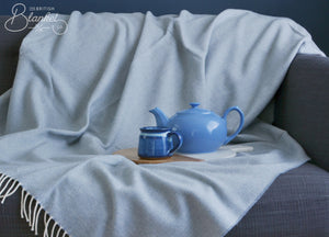 XL Smoke Blue Supersoft Merino Herringbone Throw - buy at The British Blanket Company
