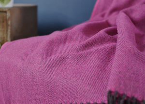 Foxglove Pink Herringbone Supersoft Merino Herringbone Throw - buy at The British Blanket Company