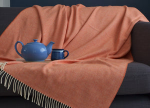 XL Clementine Orange Supersoft Merino Herringbone Throw - buy at The British Blanket Company