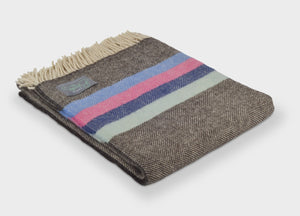 Winter Bright Herringbone Stripe Throw - buy at The British Blanket Company