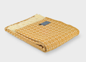 Mustard Yellow Cobweave Throw - The British Blanket Company