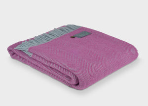 Mulberry Pink and Duck Egg Blue Herringbone Throw - buy at The British Blanket Company