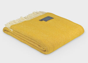 Buttercup Yellow Herringbone Throw