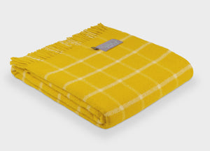 Sunflower Yellow Grid Check Throw - buy at The British Blanket Company