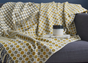 Yellow Ochre and Grey Geo Merino Lambswool Throw - buy at The British Blanket Company