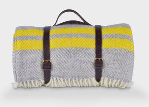 Grey and Yellow Waterproof Picnic Blanket with Straps - buy at The British Blanket Company
