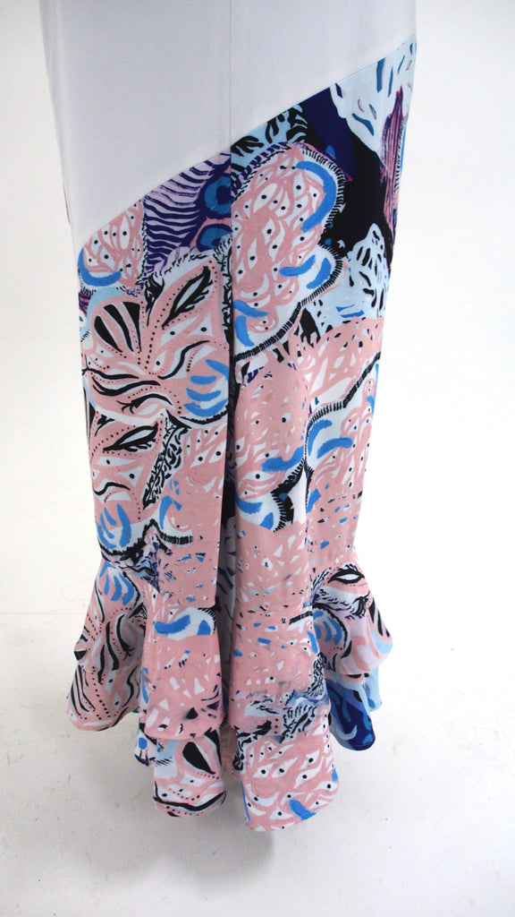 Long Printed Ruffled Dress