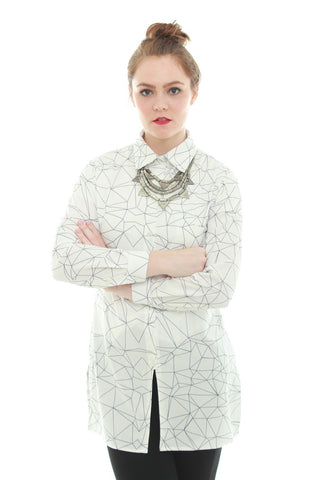 Geometry All Over Print Shirt Dress – White