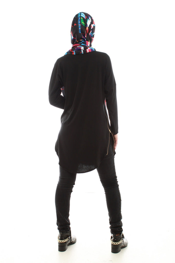 Knee Length Tunic Top with Side Zips
