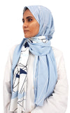 Powder Blue Graphic Shawl