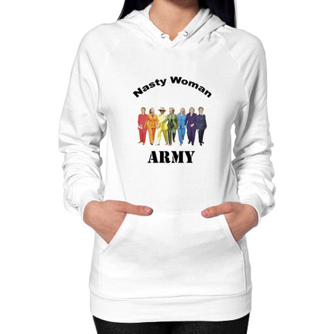 Hoodie (on woman) White Arlington T Shirt