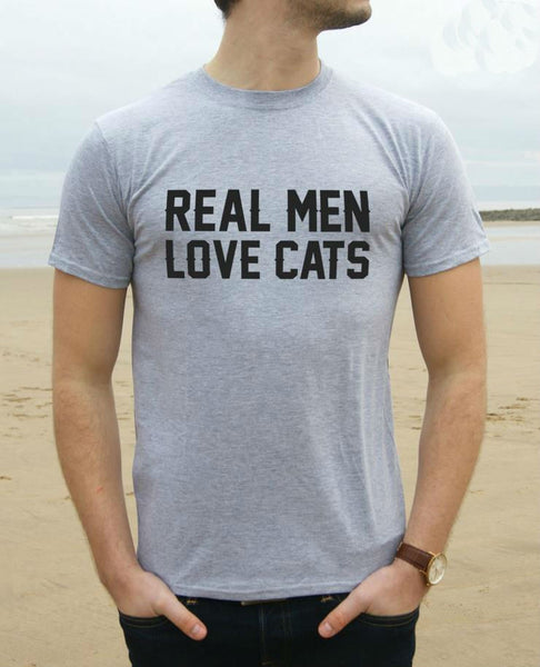 Real Men Love Cats Funny Men's T-Shirt
