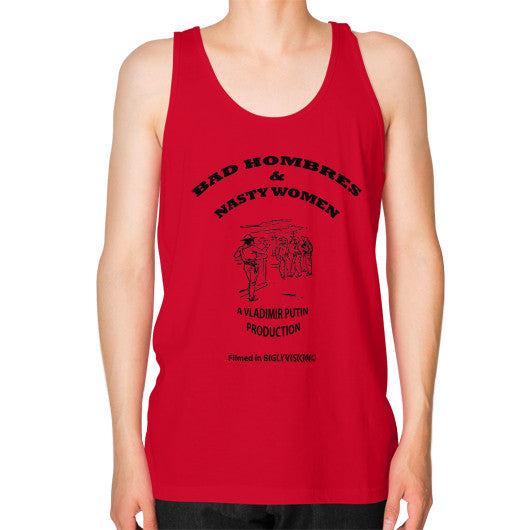 Unisex Fine Jersey Tank (on man) Red Arlington T Shirt