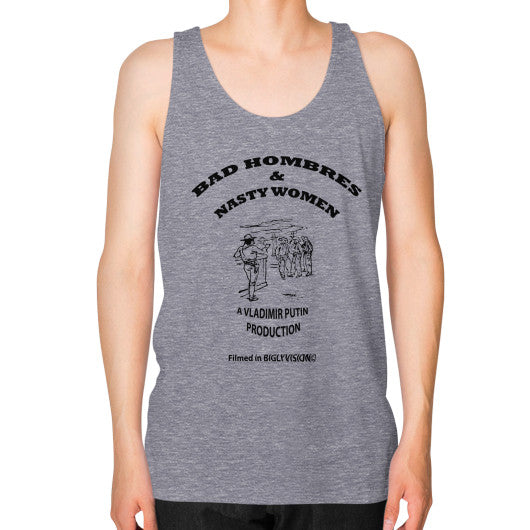 Unisex Fine Jersey Tank (on man) Tri-Blend Grey Arlington T Shirt