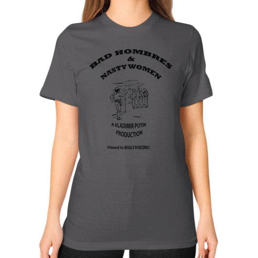 Unisex T-Shirt (on woman) Asphalt Arlington T Shirt
