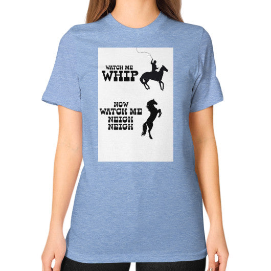 Unisex T-Shirt (on woman) Tri-Blend Blue Arlington T Shirt