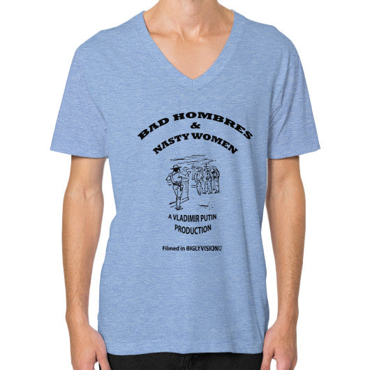 V-Neck (on man) Tri-Blend Blue Arlington T Shirt
