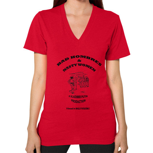V-Neck (on woman) Red Arlington T Shirt