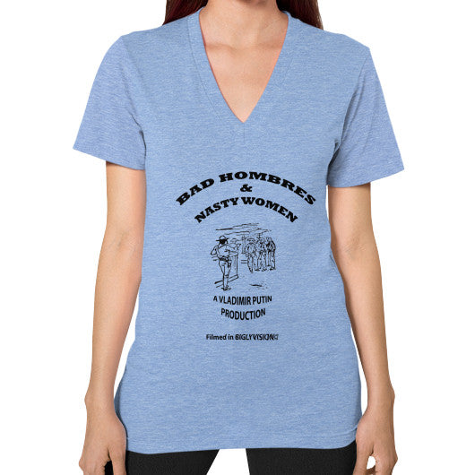 V-Neck (on woman) Tri-Blend Blue Arlington T Shirt
