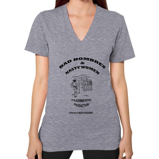 V-Neck (on woman) Tri-Blend Grey Arlington T Shirt