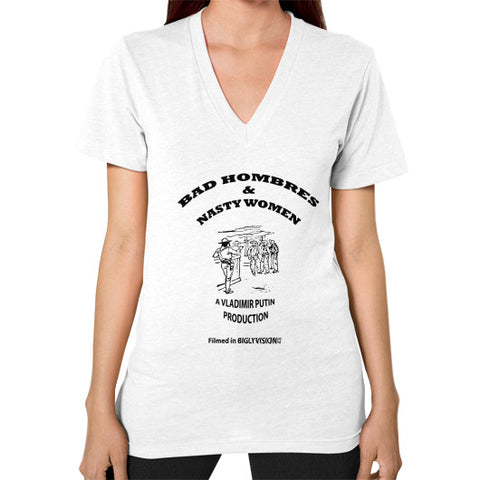 V-Neck (on woman) White Arlington T Shirt